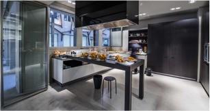 La cocina de la Sala BACK preparada para un catering