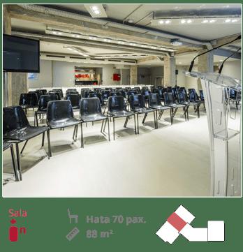 Foto de la sala IN con plano, medidas y capacidad