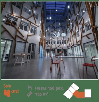 Foto de la sala YARD con plano, medidas y capacidad