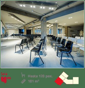Foto de la sala YES con plano, medidas y capacidad